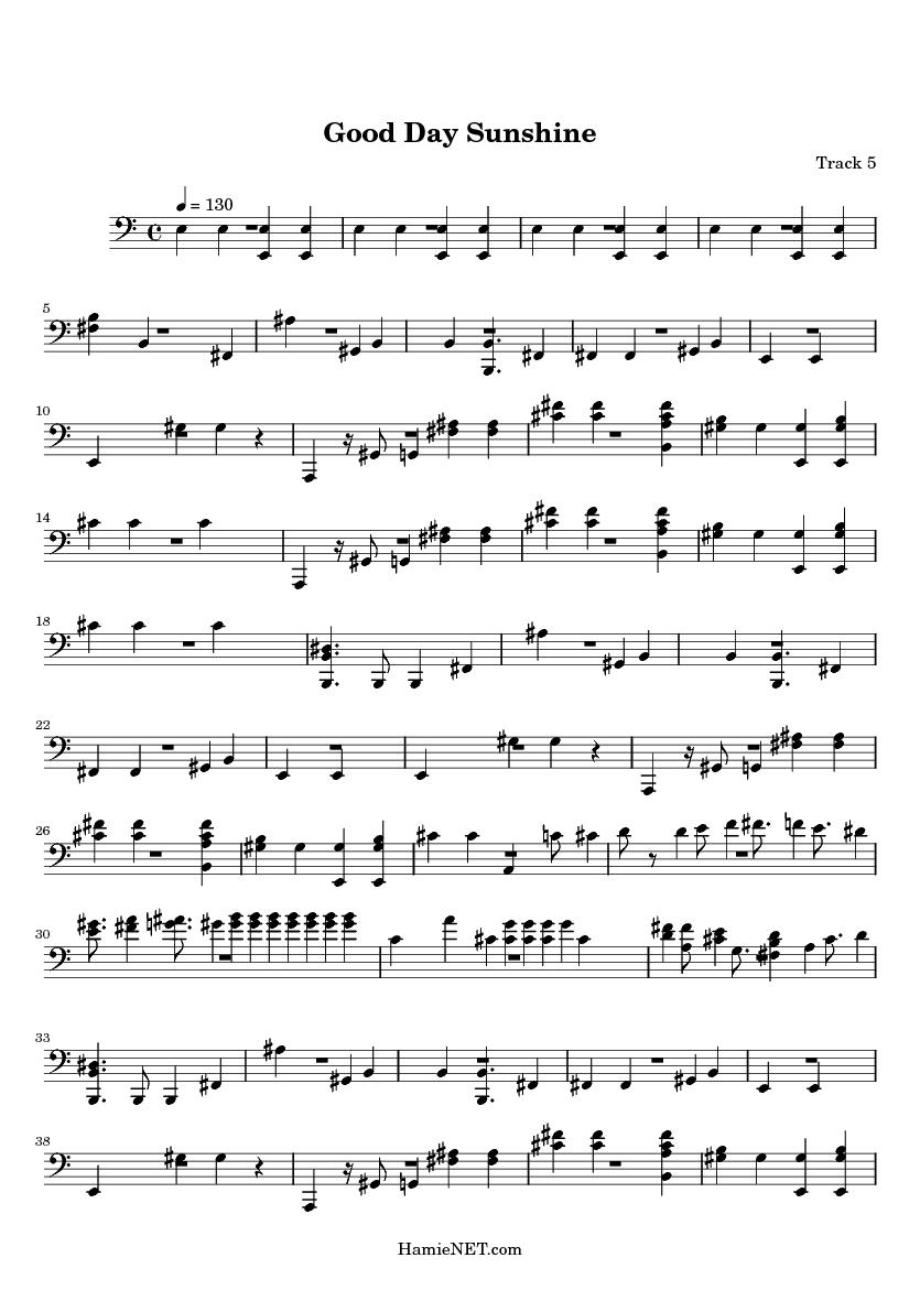 Good Day Sunshine Guitar : Good day sunshine sheet music score