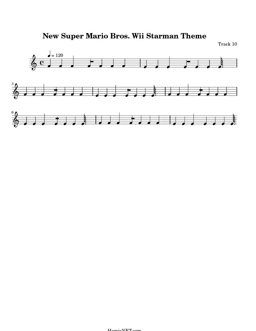 New Super Mario Bros  Wii Starman Theme Sheet Music - New